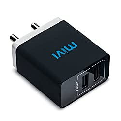 Mivi Smart Charge 3.1A Dual port Wall USB Charger with Auto ­Detect Technology for Apple iPhone, iPad, Samsung Galaxy, Lenovo, OnePlus, Xiomi MI, HTC, LG, Nexus, Motorola Moto G, ASUS, Coolpad, Sony, Micromax, Honor, Intex, Meizu, Karbonn and all other mobile devices and Tablets, Bluetooth Speakers, Power Banks, Cameras and More (Black)