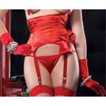 Leg Avenue Women's Satin Garter Waist Cincher, Red, Medium