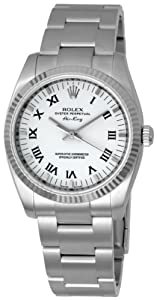 Rolex Airking White Roman Dial Fluted Bezel Mens Watch 114234WRO