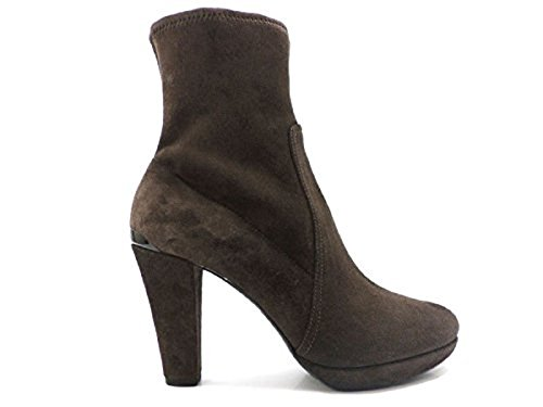scarpe donna PRADA 37,5 tronchetti camoscio marrone AV458