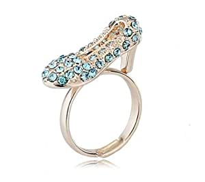 Atlas Jewels Fully Studded Crystal Cinderella Shoe Fairy Tale Cocktail Ring