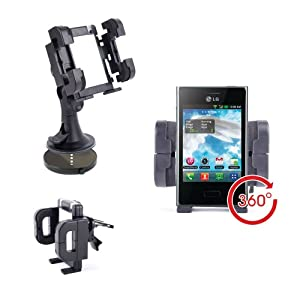 DURAGADGET Anti-Shock & Adjustable In-Car Window Phone Suction Mount For LG Optimus L3