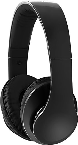 Sharper Image Shp2200Bk 3.5 Mm Ultra Bass Headphones With Mic, Fabric Cable Black