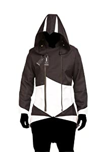 Hoodie Costume Jacket Coat - independently designed by WitBuy designers,Black with White (Men-X-Large)