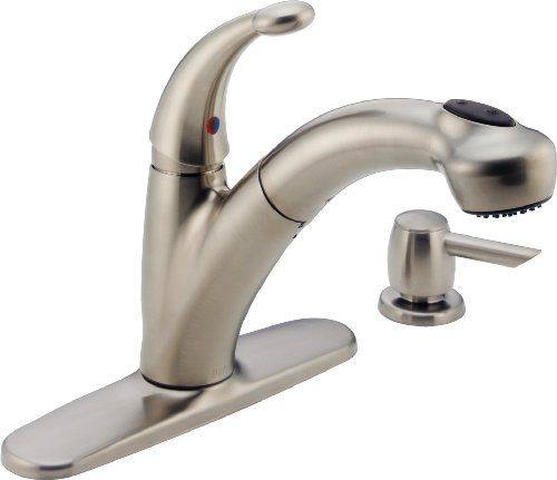 Delta Faucet 468-SSSD-DST Cicero Single-Handle Pull-out Kitchen Faucet with Soap and Lotion Dispenser, Brilliance Stainless
