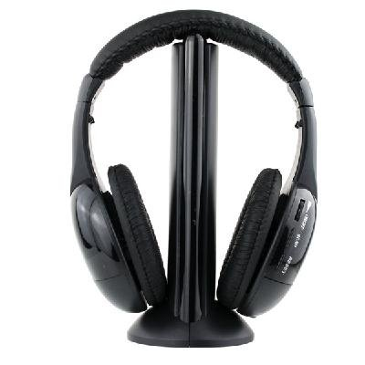 5-In-1 Wireless Headphone & Wired Headset For Laptop Pc / Tv Computer Gaming / Sports Fm Radio / Dvd / Cd Mp3 / Audio Chat / Monitoring Earphone