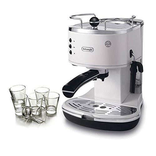 DeLonghi Icona Pump White Espresso Maker with Free Set of 6 Italian Espresso Shot Glasses