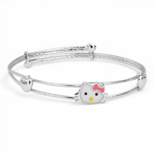 Bling Jewelry Cool Kitty Cat Silver Hearts Adjustable Childrens Bangle Bracelet 6in