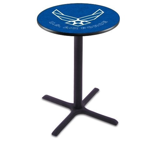 "Holland Bar Stool Co. L214C36 36"" Tall Chrome United States Military Air Force Licensed Pub Table, Blue, 28"""