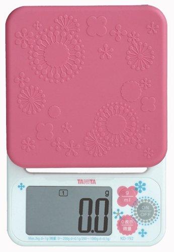 【パン作りにも便利な0.1g単位の高精度 / 最大計量2kg】 TANITA デジタルクッキングスケール ピンク KD-192-PK