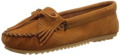 (大热)迷你唐卡 Minnetonka 最经典Kilty款豆豆底流苏莫克软皮鞋 红 $37.35