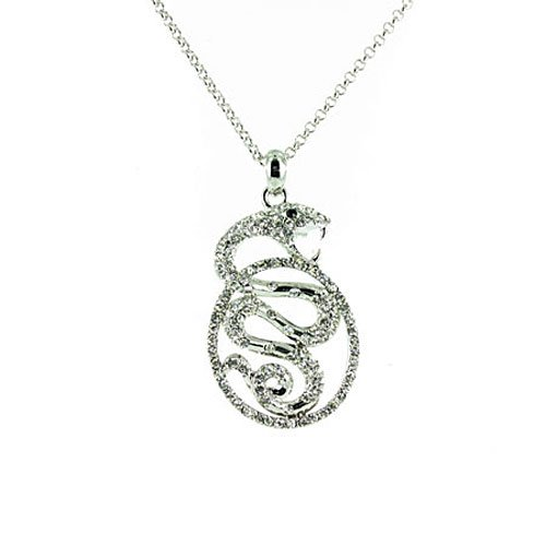 Clear Crystal on Silver Plated Cobra Snake Necklace