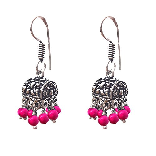 Kaizer Jewelry HandiCraft HandMade High Quality German Silver Jhumki with Pink beads (Better than Oxidized) Jhumka For Women / Girls (Gift)  available at amazon for Rs.199
