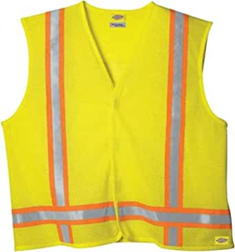 Dickie's VE200AY High Visibility Yellow ANSI Class 1 Tri-Color Safety Vest, 2X/3X