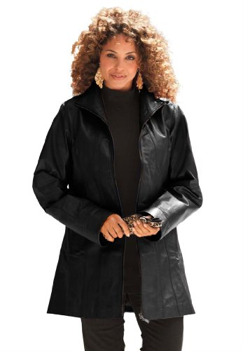 Roamans Women's Plus Size Leather A-Line Jacket (Black,34 W)