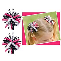 Set of 2 black & hot pink korker hair bow clip for baby toddler or girls