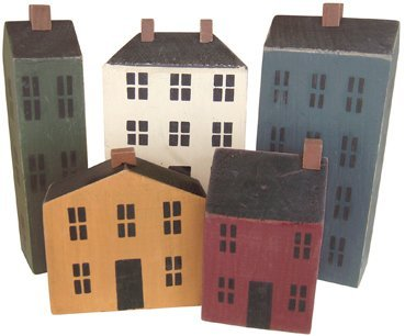 Primitive Country Rustic Wood Block Houses 5 Pc Set