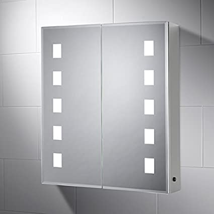 Elana Cabinet Bathroom Mirror with Lights 600mm(W) x 700mm(H) Aluminium Cabinet with Sensor Switch, Shaver Socket, Demister & Shelves