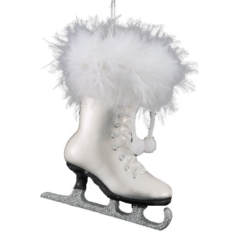 Kurt Adler 4-1/4-Inch Noble Gems Glass White Ice Skate Ornament