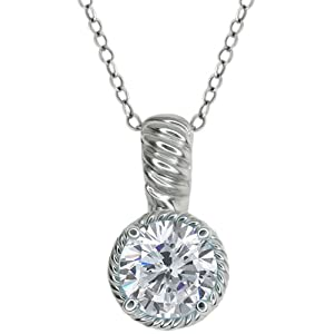 2.00 Ct Round H - I Diamond Sterling Silver Pendant