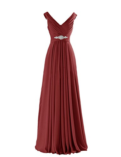 Yougao Women's V Neck A-Line Chiffon Long Floor Length Evening Dress Gown US 22