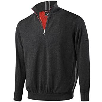 Mizuno Windlite Zip Neck LINED Windproof Golf Sweater Winter Thermal Pullover Black Small