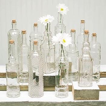 Vintage Decanter Bottles & Bud Vases w/ Corks, Clear Glass, Assorted, Set of 12