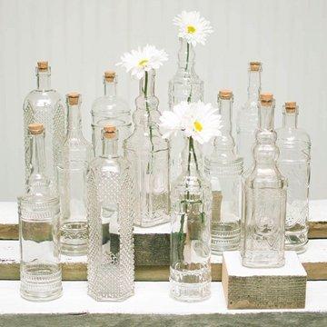 Vintage Decanter Bottles Amp Bud Vases W Corks Clear Glass Assorted Set Of 12