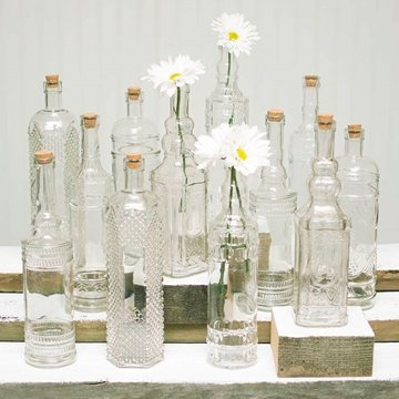Vintage Decanter Bottles & Bud Vases w/ Corks, Clear Glass, Assorted, Set of 12 0