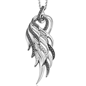 925 Sterling Silver Angel Feather Wing White and Black Diamond Pendant Necklace (GH, I1-I2, 0.20 carat)