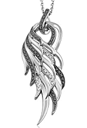 925 Sterling Silver Angel Feather Wing White and Black Diamond Pendant Necklace (1/5 carat)