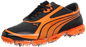 PUMA Men's AMP Cell Fusion SL Golf Shoe,Black/Vibrant Orange,7 M US