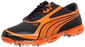 PUMA Men's AMP Cell Fusion SL Golf Shoe,Black/Vibrant Orange,7 M US