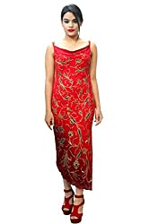 Manish Ahuja Designer Red Georgette Ombre Beaded Hand Embroidered One Piece Dress