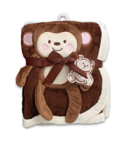 "Baby Blanket w/ Monkey Design - 30x40"" (Brown)"