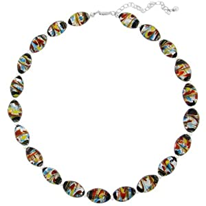 "Hand -Blown Multi-Colored Oval Glass Bead and Sterling Silver Bead Necklace, 16+3"" Extender"