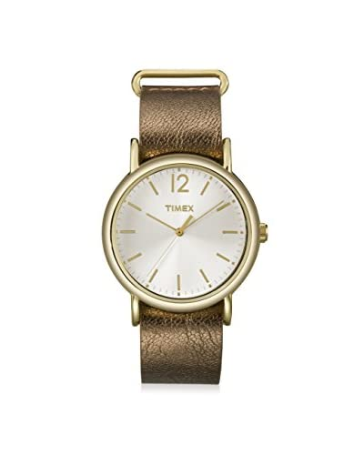Timex Women's T2P3409J Weekender Metallic Bronze Slip-Thru Leather Strap Watch