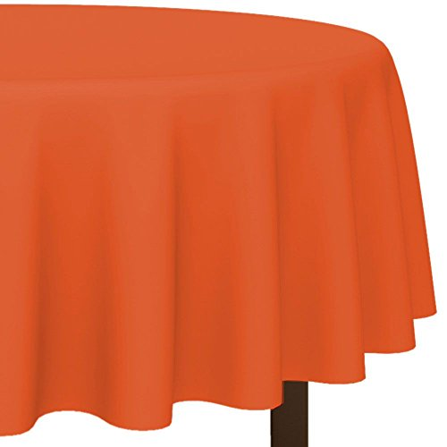 "Amscan Disposable Diameter Round Plastic Table Cover In Fits 7' Round Tables, 84"", Orange Peel - 1"