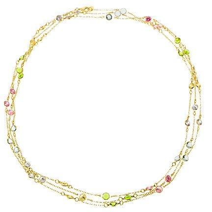 High Quality Cubic Zirconia {C.Z.} Diamonds 14K Gold Plated Sleek Lariat Necklace