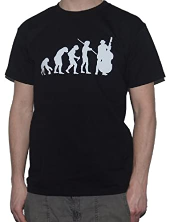 Ape to Double Bass Player - Evolution of Man T-Shirt (Small, Black)