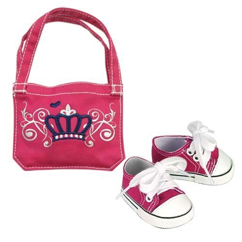 18 Inch Doll Set, Hot Pink Canvas Sneakers & School Bag by Sophia's Perfect for American Dolls & More, Doll Accessory Set of Sneakers & School Bag