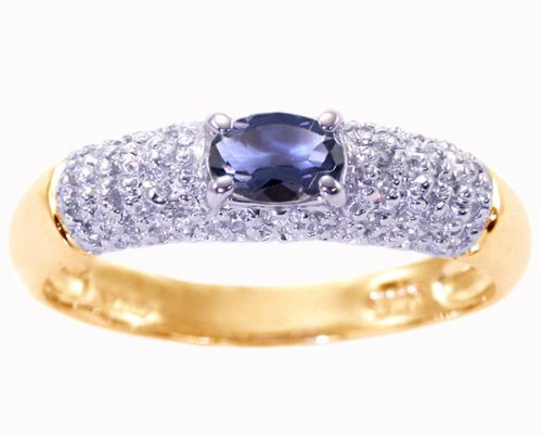 14K Yellow Gold Petite Oval Gemstone and Diamond Promise Ring-Iolite, size8