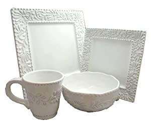 American Atelier Bianca Leaf 16-Piece Square Dinnerware Set by The Jay Companies
