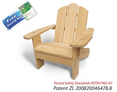 Lohasrus Kids Adirondack Chair 20101 - Passed Safety Standards ASTM F963-07, Unfinished Fir, for ages 2 to 6, Free Drawing Book