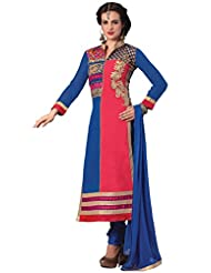 Manvaa Blue And Pink Cotton Straight Embroidered Suit