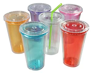 Set of 6 Reusable BPA-Free Double-Wall Cold Travel Tumblers, 16-Ounce Capacity, With Straws