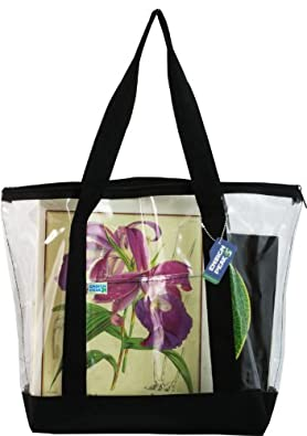 Large Clear Zipper Tote with Color Trim & Bottom (Black)