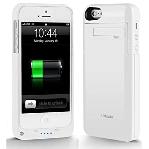 i-Blason PowerSlider Lightning iPhone 5 Rechargeable External Battery Glider Full Protection Case with Apple new 8 Pin Lightning Charging Connectors - AT&T, Sprint, Verizon (White)