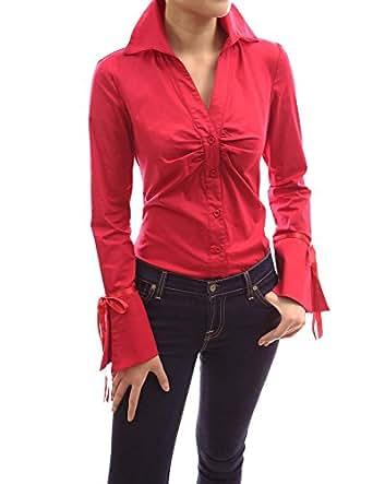 PattyBoutik Women's Bell Shaped Button Down Shirt (Red L)