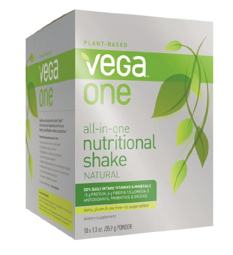 Vega One All-In-One Nutritional Shake, Natural, 10 Count front-234881